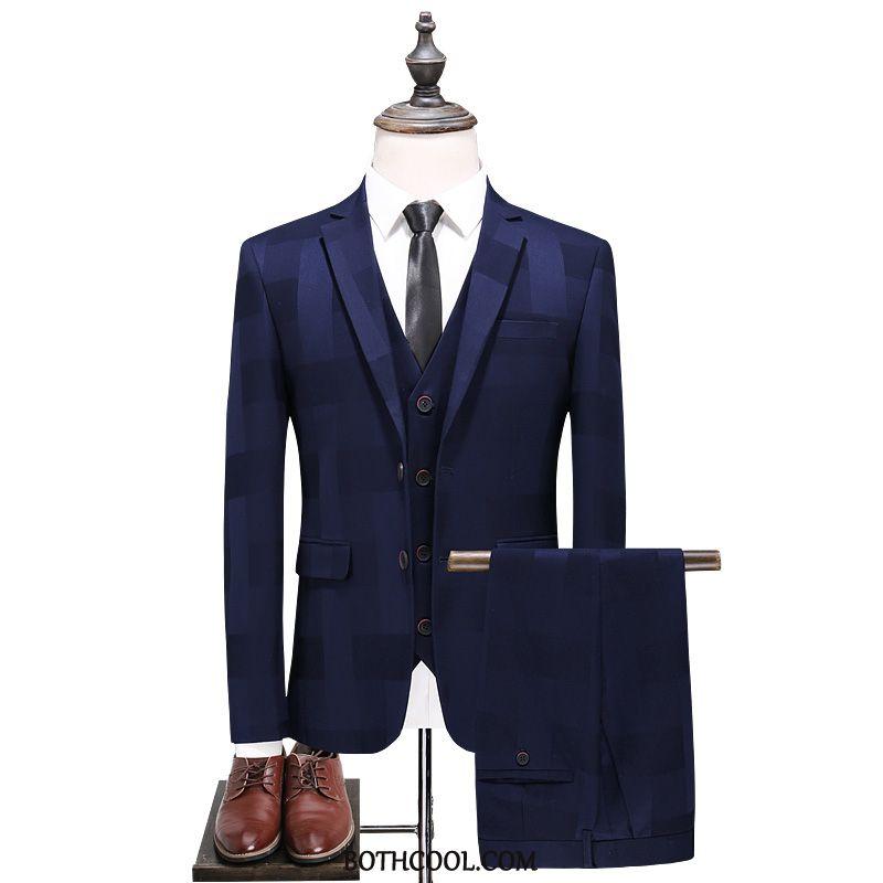 Pakken Heren Sale Drie Stukken Slim Fit Voorjaar Blazer Nieuw Pak Blauw