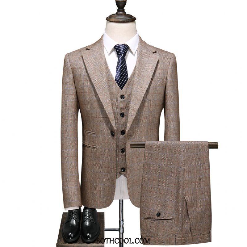 Anzüge Herren Günstige Seide Business Gekleidete Streifen Anzug Bräutigam Khaki
