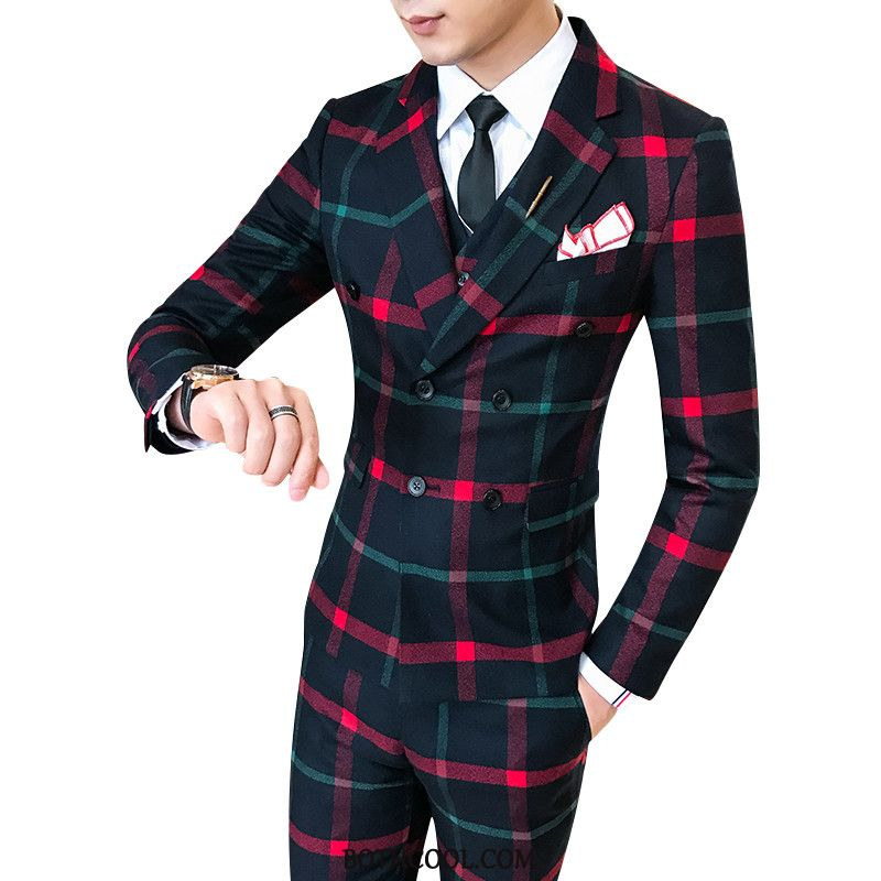 Suits Mens Online Sale Men's Youth Slim Fit Europe Trend Wedding Red