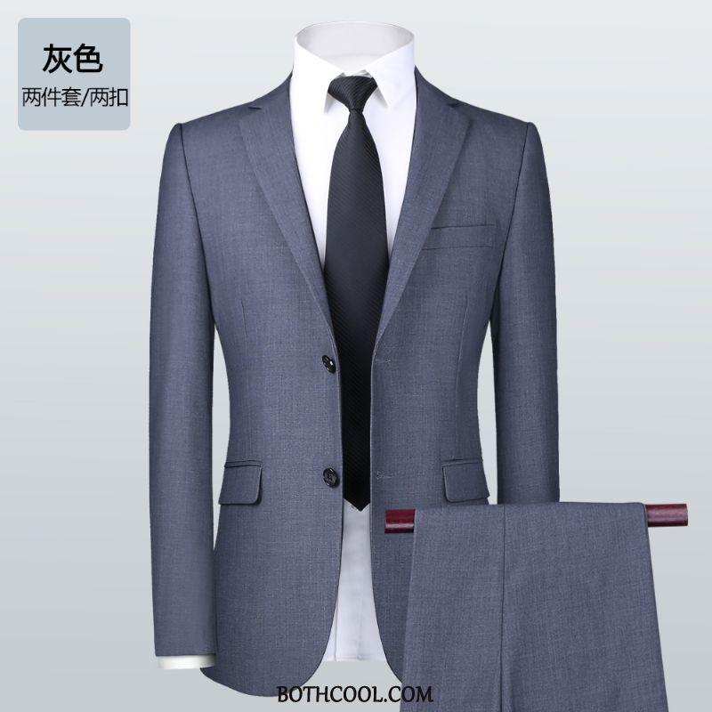 Abito Completo Uomo Negozio Vestiti Tuta Uomo Camicia Matrimonio Lavoro Blu Grigio