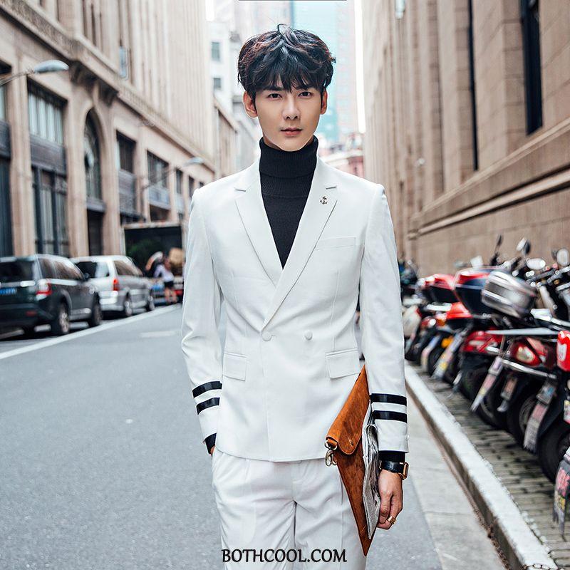 Suits Mens Online Sale Set Men's Suit Double Breasted Two Pieces Slim Fit White