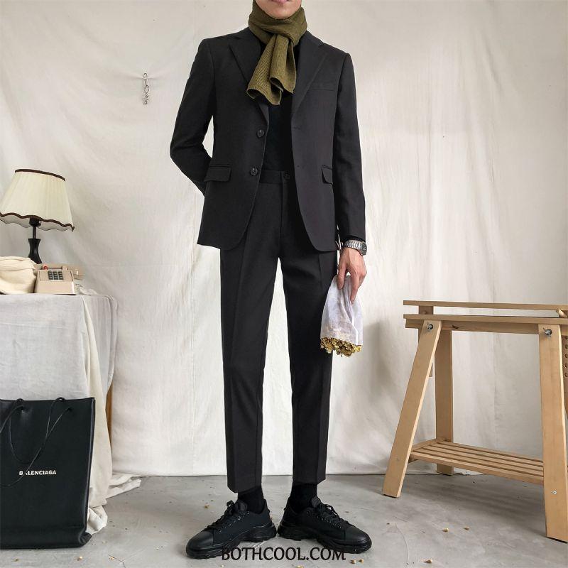 Suits Mens Online Sale Slim Fit Solid Color Autumn Business Set Trend Black