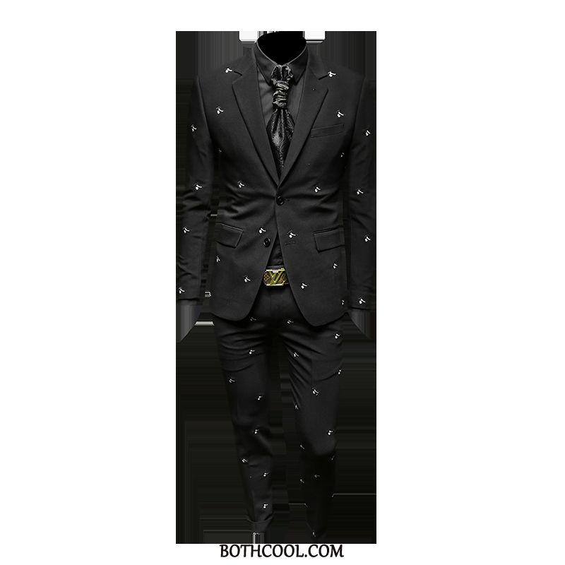 Abito Completo Uomo Economiche Vestiti Due Pezzi Primavera Uomo Casual Britannico Nero