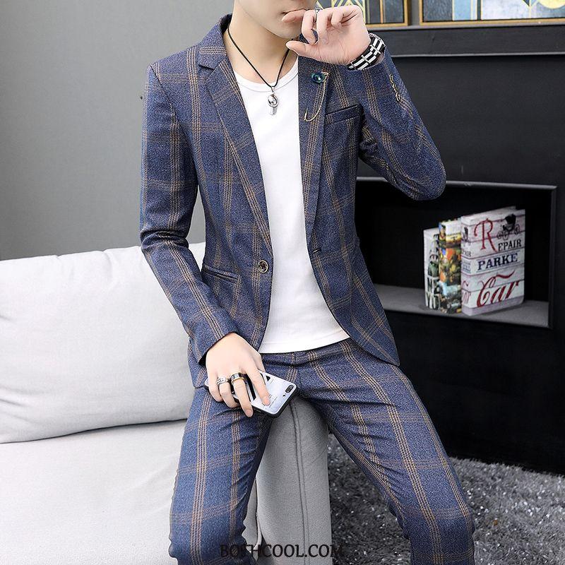 Anzüge Herren Geschäft Business Kleiner Anzug Seide Casual Zweiteiliger Anzug Slim Fit Marineblau