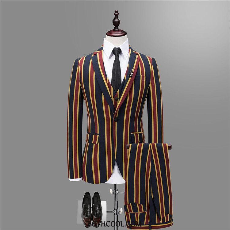 Suits Mens Online Sale Suit Suit Three Sets British Europe Set Stripe Red