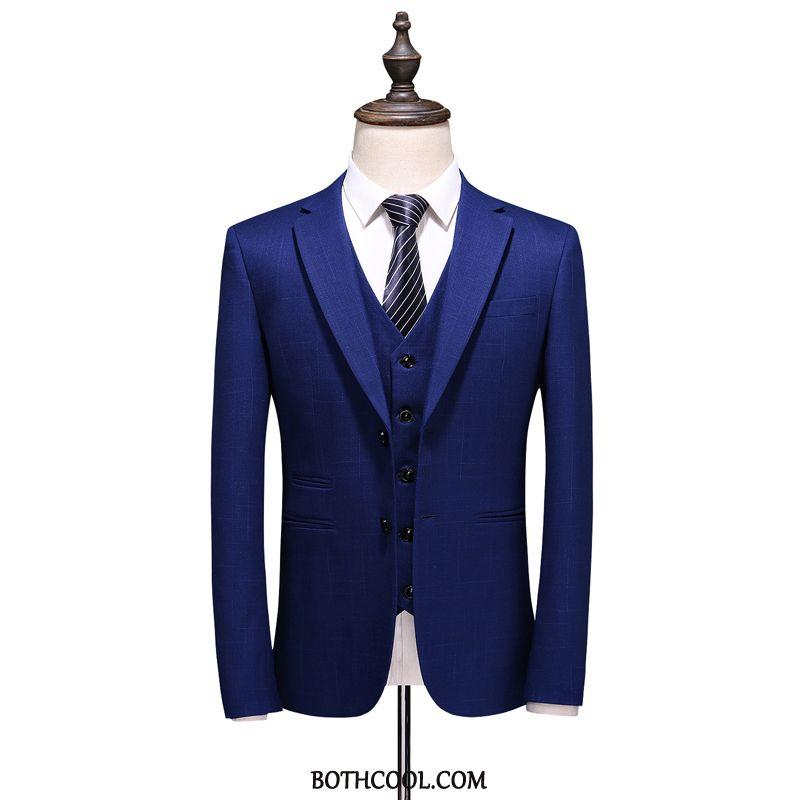 Suits Mens Online Sale Suit Three Sets Suit Business Set Bridegroom Stripe Blue