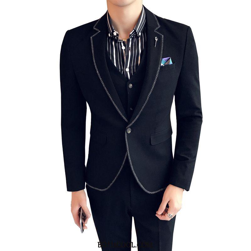Suits Mens Online Sale Suit Wedding Slim Fit Set Europe Bridegroom Black