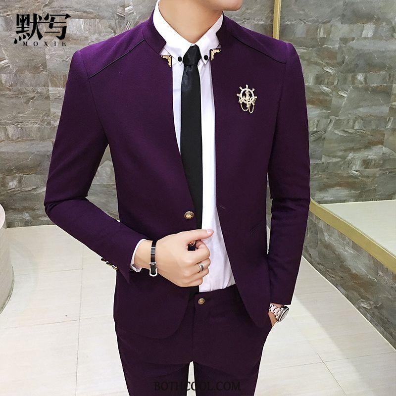 Suits Mens Online Sale Wedding Men's Best Man Stand Collar Suit Slim Fit Purple