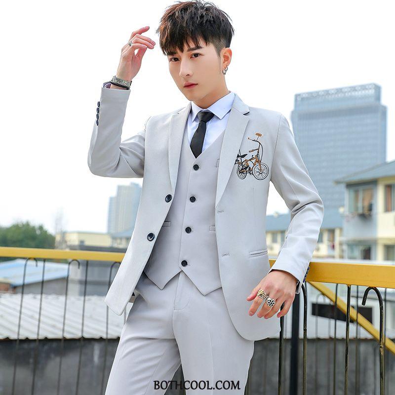 Suits Mens Online Sale Wedding Pants Suit Tie Bridegroom Set Gray