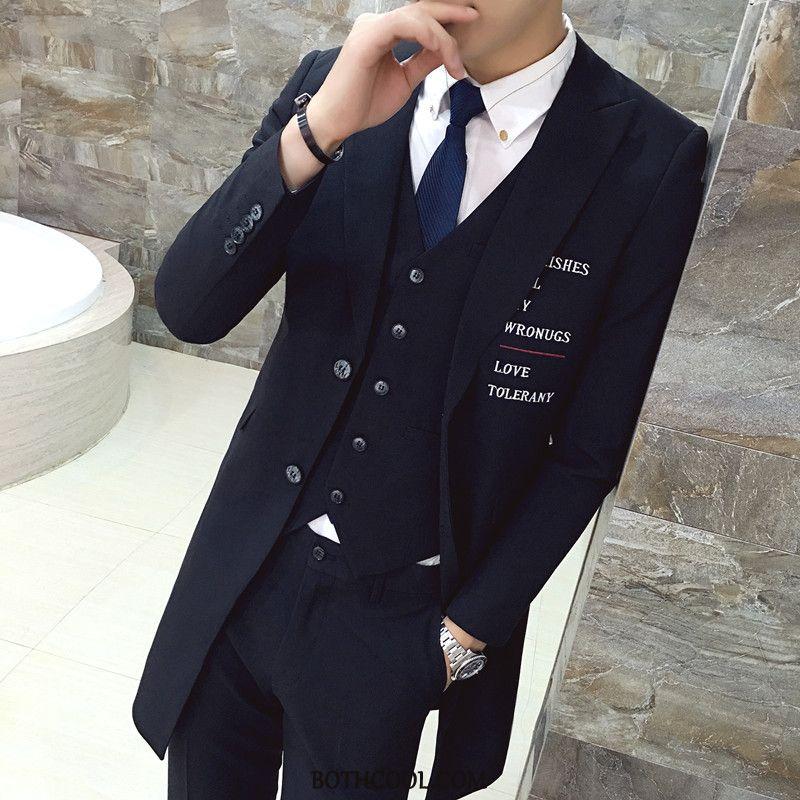 Suits Mens Online Sale Youth Slim Fit Coat Set Casual Long Black