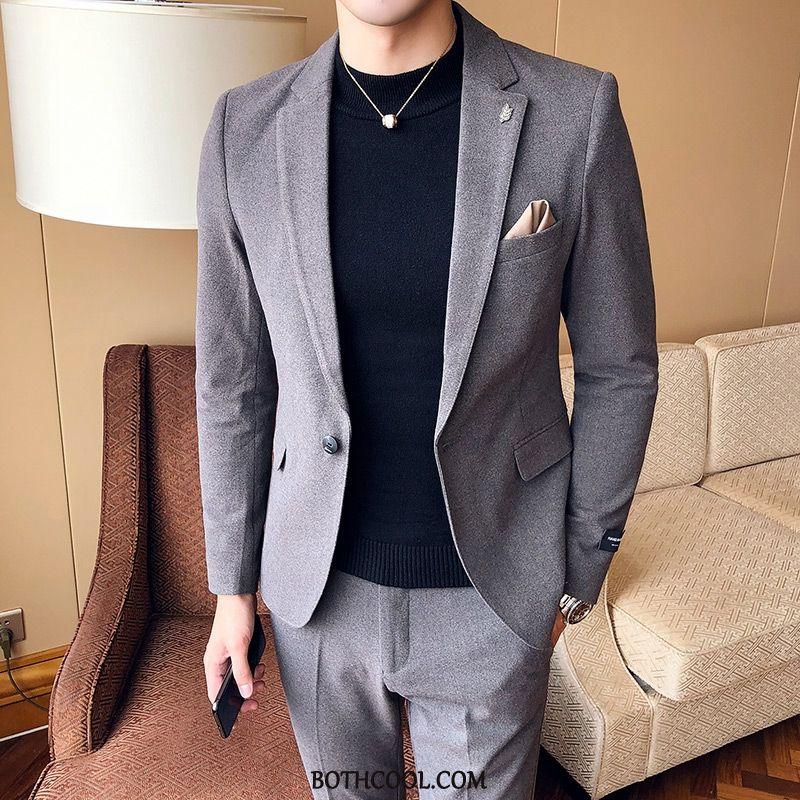 Suits Mens Online Set Bow Tie Suit Two Pieces Slim Fit Dress Gray Red Black