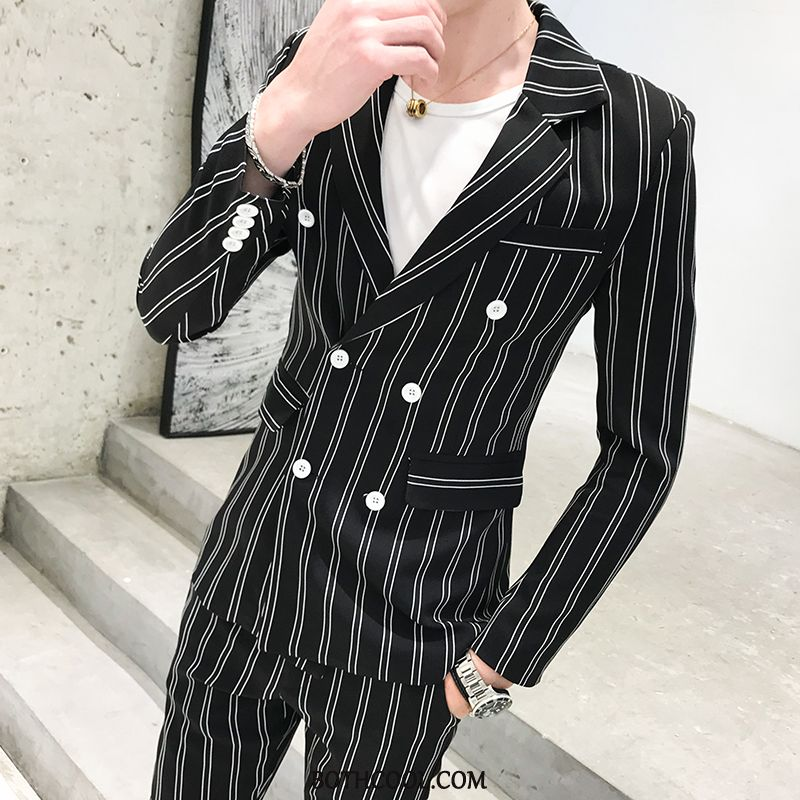 Suits Mens Online Suit Handsome New Suit Europe Double Breasted Stripe Green Black
