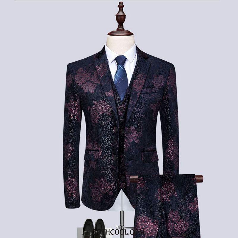 Suits Mens Online Three Sets Suit Men Presided Over Slim Fit Set Pattern Red