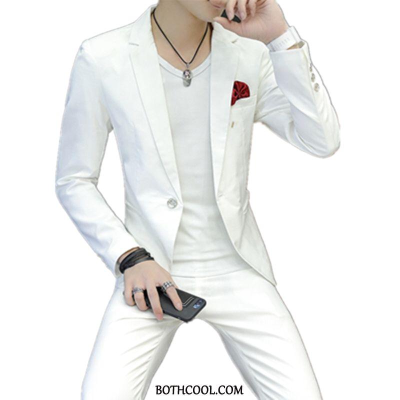 Abito Completo Uomo Economica Tendenza Adolescente Casual Uomo Blazer Blazer Bianco