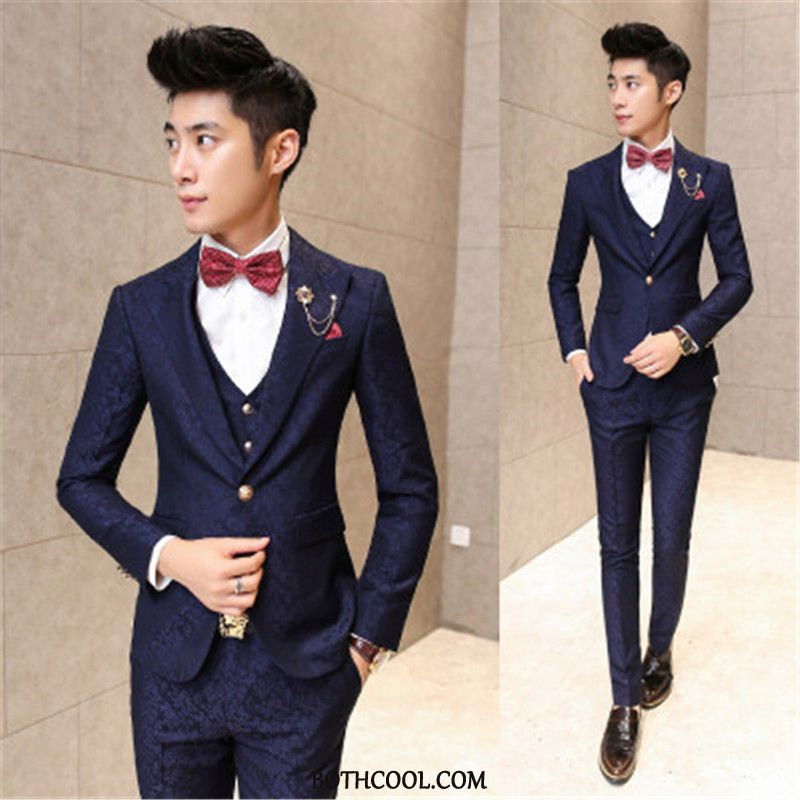 Suits Mens Sale Europe Youth Wedding Best Man Men's Slim Fit Printing Navy Blue