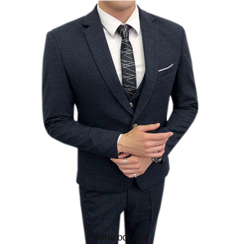 Abito Completo Uomo Scontate Uomo Britannico Tuta Vestiti Sposo Business Nero