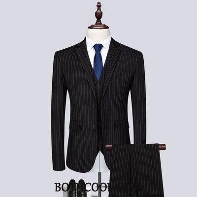 Suits Mens Sale Large Size Casual Three Sets New Suit Large Stripe Black