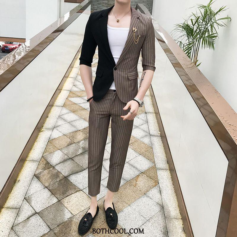 Suits Mens Sale Mixed Colors Half Sleeve Men's Suit Slim Fit Trend Stripe White