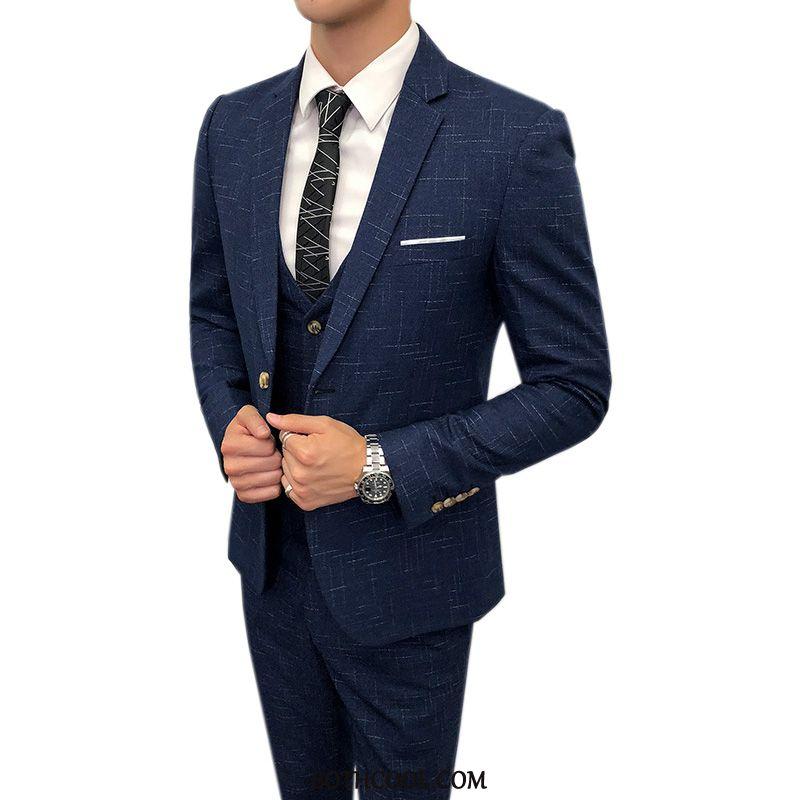 Suits Mens Sale Set Suit Slim Fit Best Man Three Sets Handsome Blue