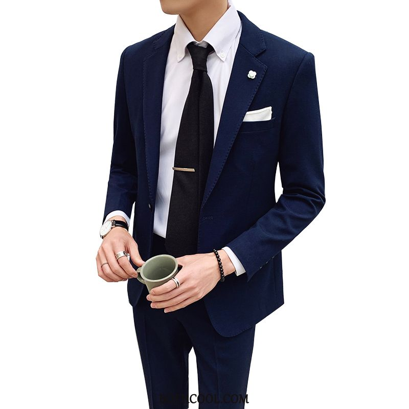 Suits Mens Sale Slim Fit Europe Business Two Pieces Casual British Blue
