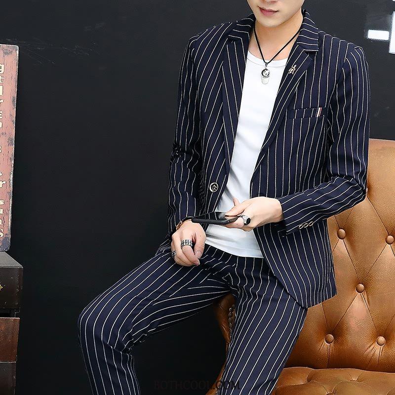 Suits Mens Sale Suit Youth Coat Slim Fit New Autumn Stripe Gray