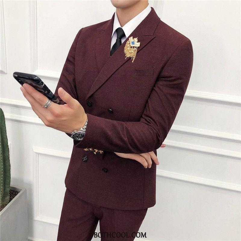 Suits Mens Sale Three Sets Suit Slim Fit Europe Men's Suit Red Wine
