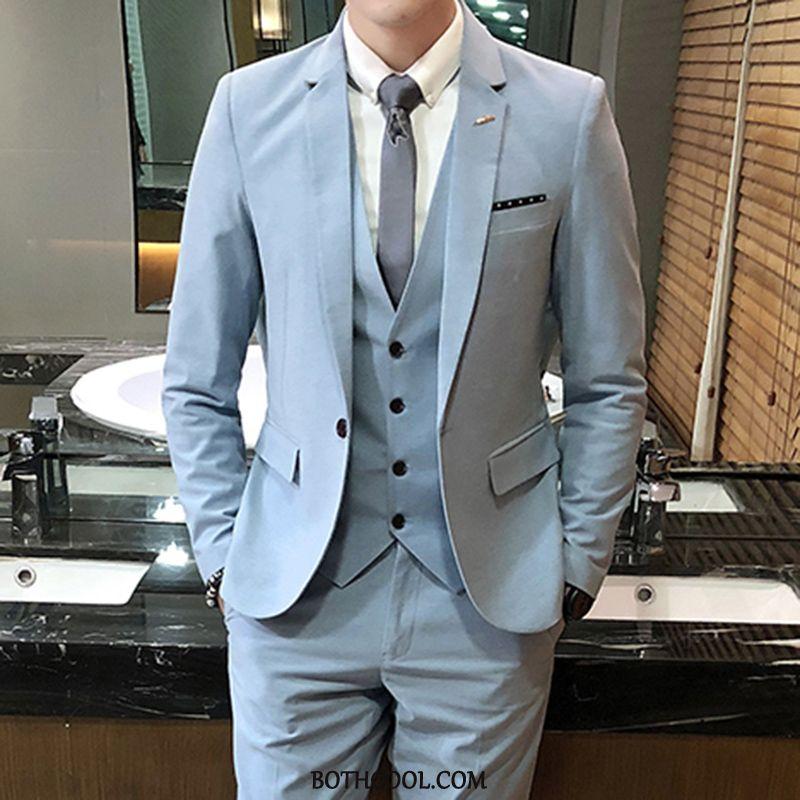 Abito Completo Uomo Economiche Giacca Casual Nuovo Vestiti Tendenza Uomo Blu Chiaro