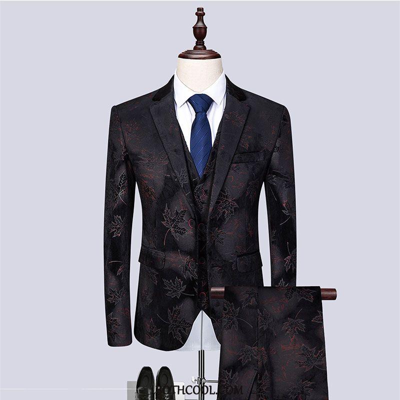 Puvut Miesten Halvat Juhla-asu Business Häät Kolme Sarjaa Vaatteet Puku Musta