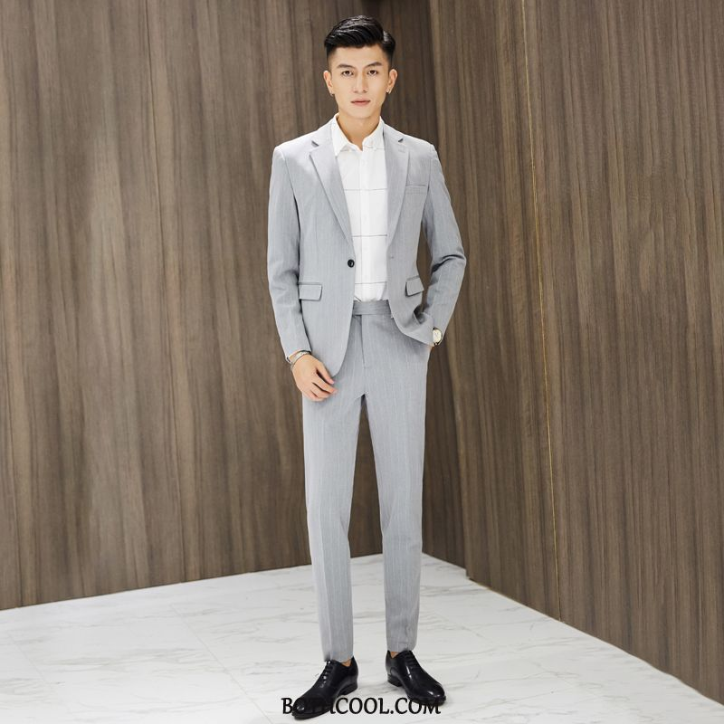 Suits Mens Shop Online Fashion Blazer Europe New Suit British Khaki Stripe