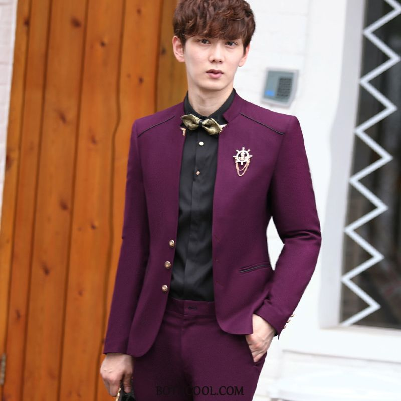 Suits Mens Shop Online Personality Europe Suit Small Size Presided Over Middle Red Wine