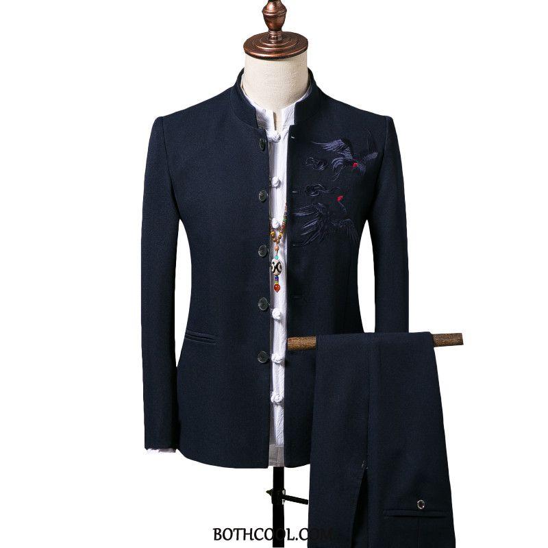 Suits Mens Shop Online Set Men Two Pieces Stand Collar Slim Fit Wedding Blue