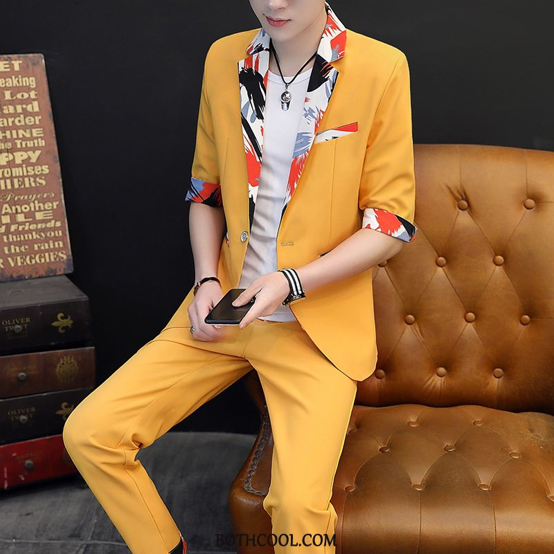 Suits Mens Shop Online Sleeve Slim Fit Men's Casual Summer Europe White Yellow