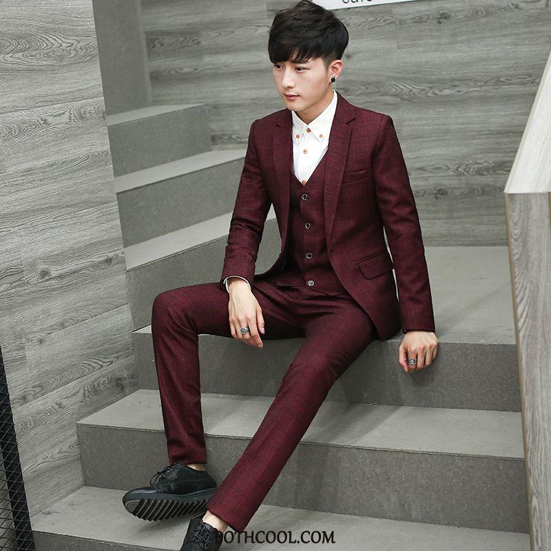 Suits Mens Shop Online Suit Business Suit Slim Fit Checks Set Red