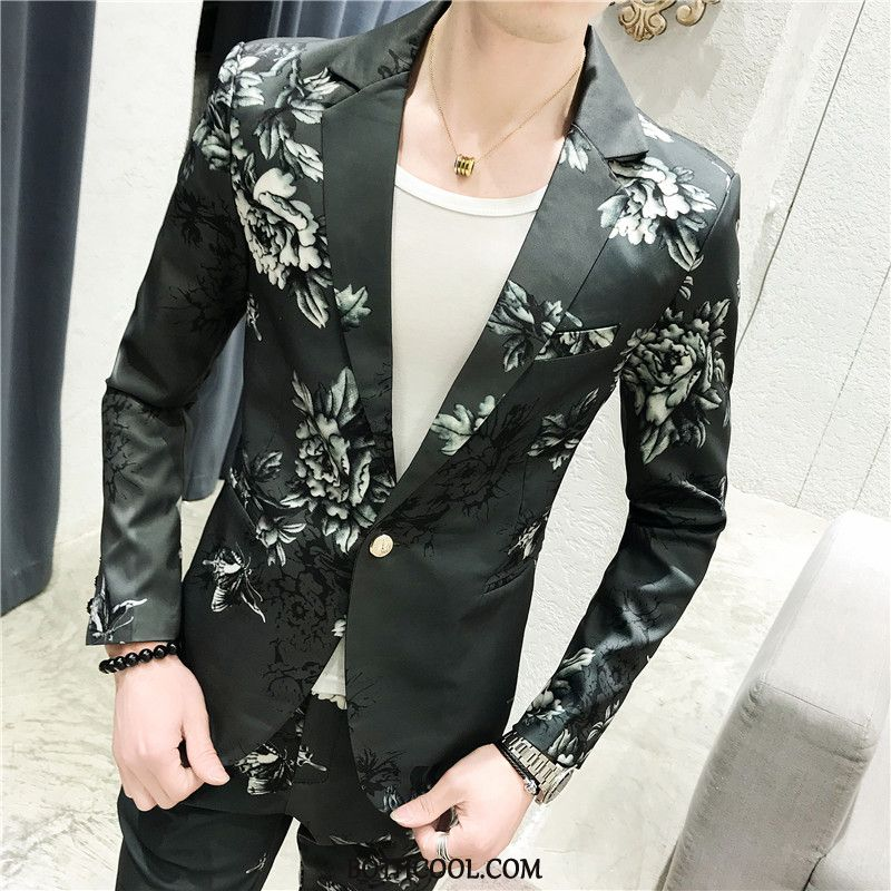 Suits Mens Shop Online Suit Handsome Personality Floral Slim Fit Set White