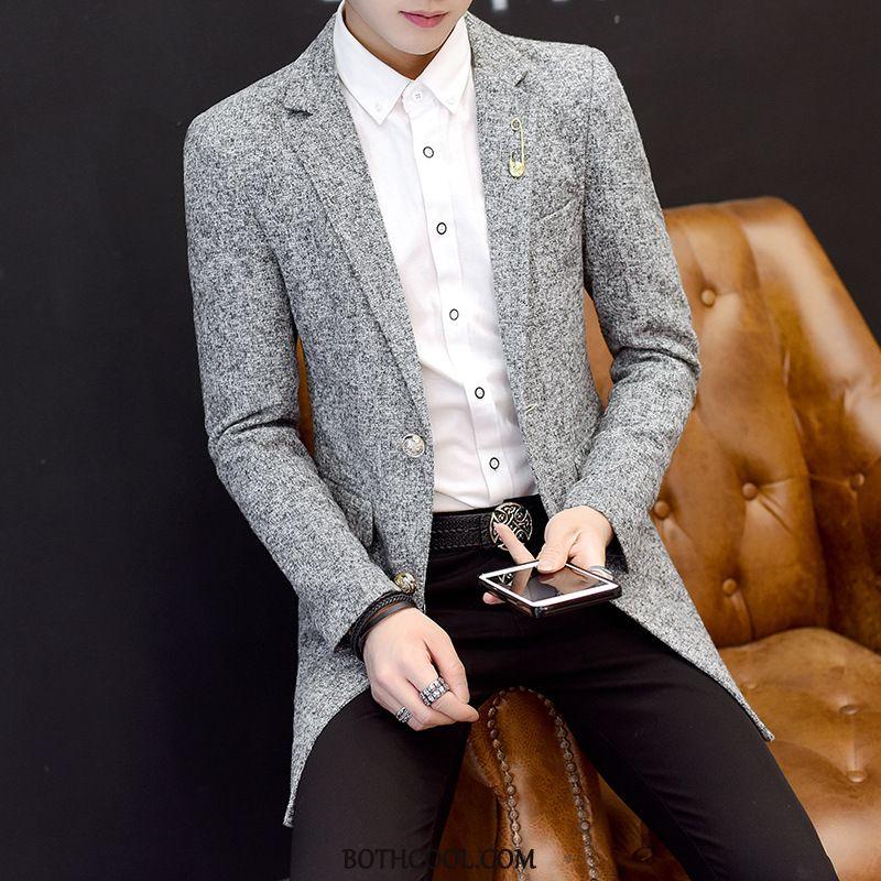 Blazer Mens Cheap Europe Men's Long Woolen Slim Fit Men's