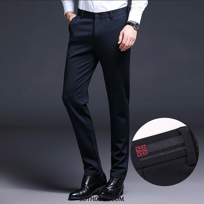 Pantaloni Da Abito Uomo Negozio Autunno Business Spessore Gioventù Slim Fit Vestiti