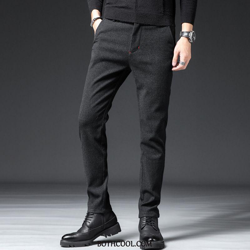 Suit Pants Mens Cheap Elasticity Linen New Straight Trousers Winter Black