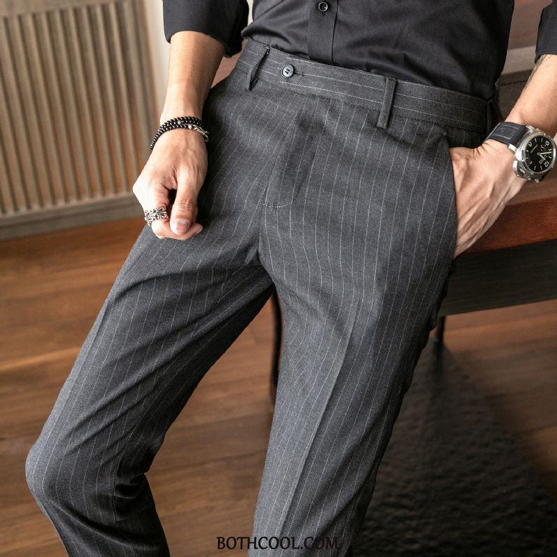 Pantaloni Da Abito Uomo Economiche Striscia Autunno Pantaloni Casual Pantaloni Da Abito Britannico Slim Fit