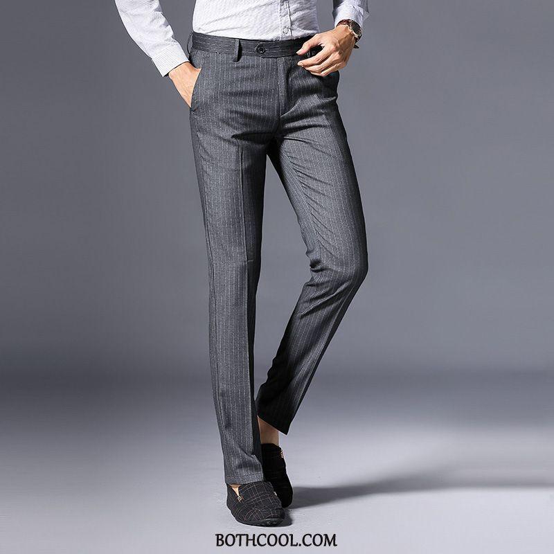 Pantaloni Da Abito Uomo Economici Mezza Età Striscia Business Pantaloni Casual Dritto Uomo
