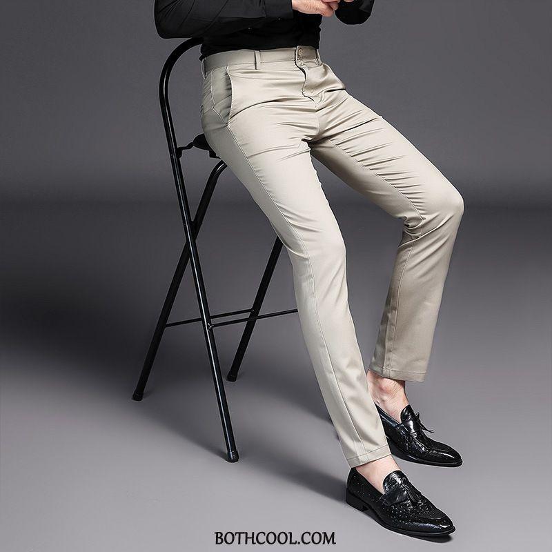 Kostuumbroek Heren Winkel Mode Elastiek Kostuumbroek Heren Trend Slim Fit