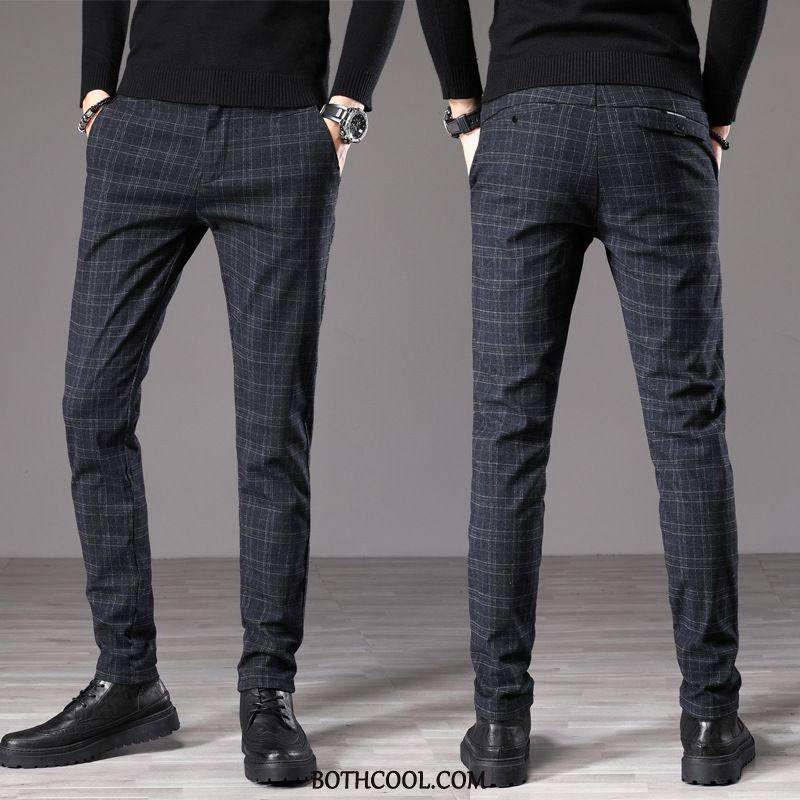 Suit Pants Mens Online Sale Check Casual Straight British Autumn Men's