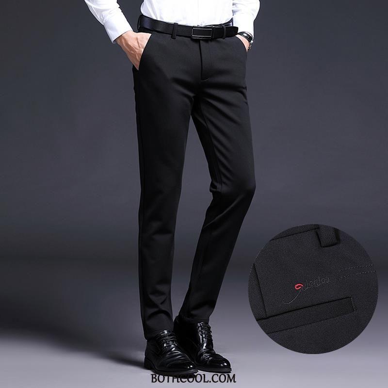Pantaloni Da Abito Uomo On Line Pantaloni Da Abito Pantaloni Casual Moda Autunno Elastico 2019
