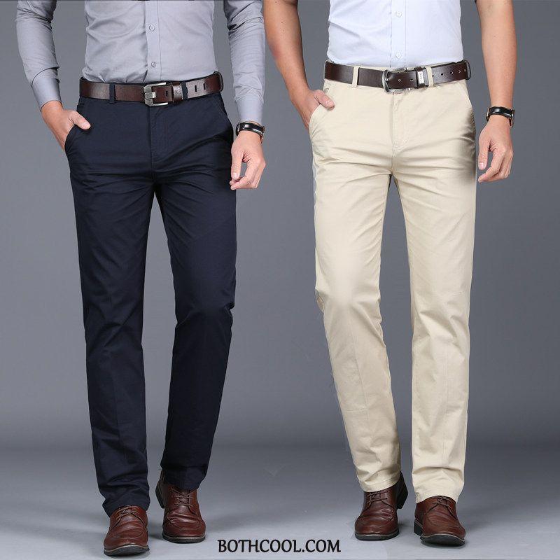 Pantaloni Da Abito Uomo Economiche Larghi Uomo Di Cotone Business Mezza Età Vita Alta
