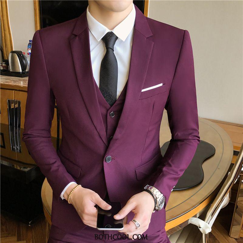 Abito Completo Uomo Vendita Sposo Gioventù Nozze Business Vestiti Nuovo Nero