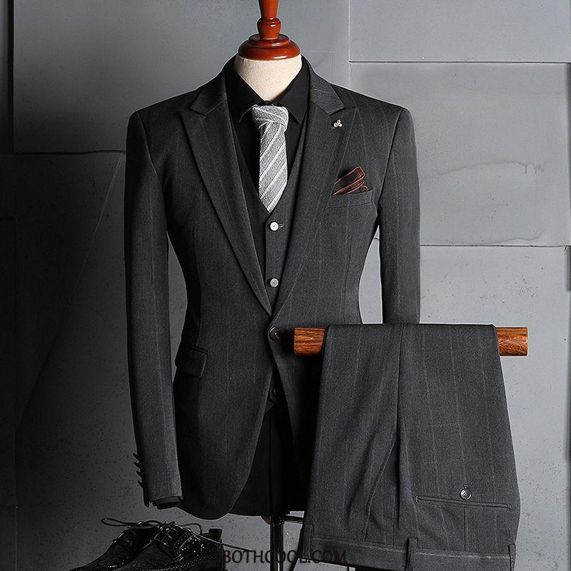 Suits Mens Cheap Suit Business Professional Men Checks Formal Suit Gray