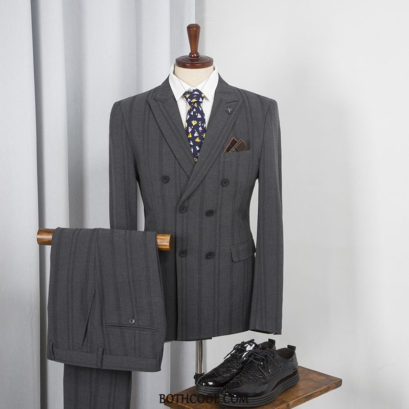 Suits Mens Sale Double Breasted Slim Fit Men Youth Suit Wedding Stripe